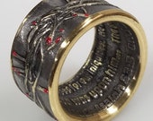 KING of kings Crown of Thorns Coin Ring Isaiah 53 5 Ring With or Without Red Thorn Tips