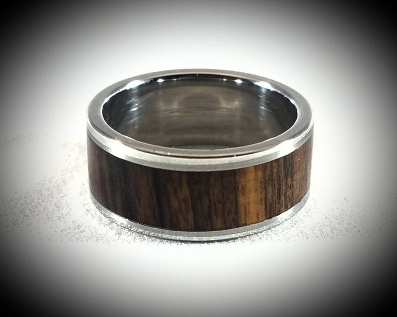 Bolivian Rosewood Inlay and Stainless Steel Ring