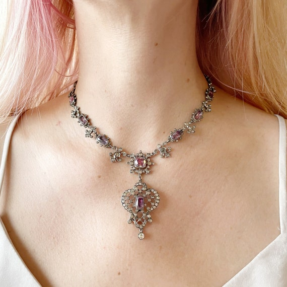 Victorian Pink Paste Silver Necklace