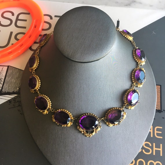 """Victorian """"Amethyst"""" Paste and Gilt Riviere Neckl… - image 2"""