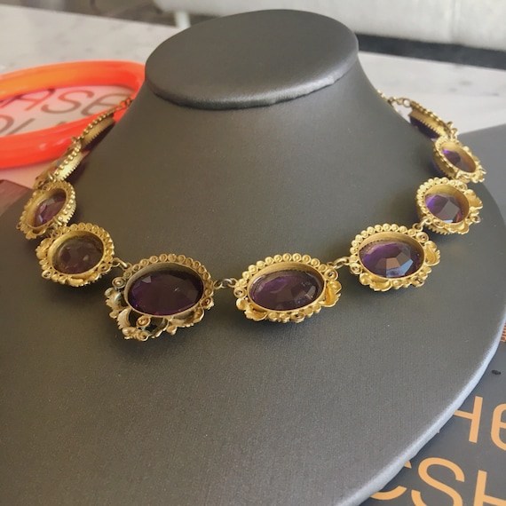 """Victorian """"Amethyst"""" Paste and Gilt Riviere Neckl… - image 5"""