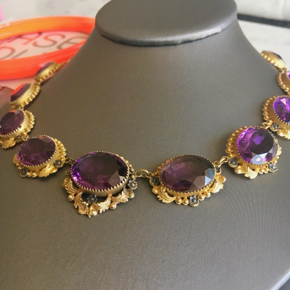 """Victorian """"Amethyst"""" Paste and Gilt Riviere Neckl… - image 1"""