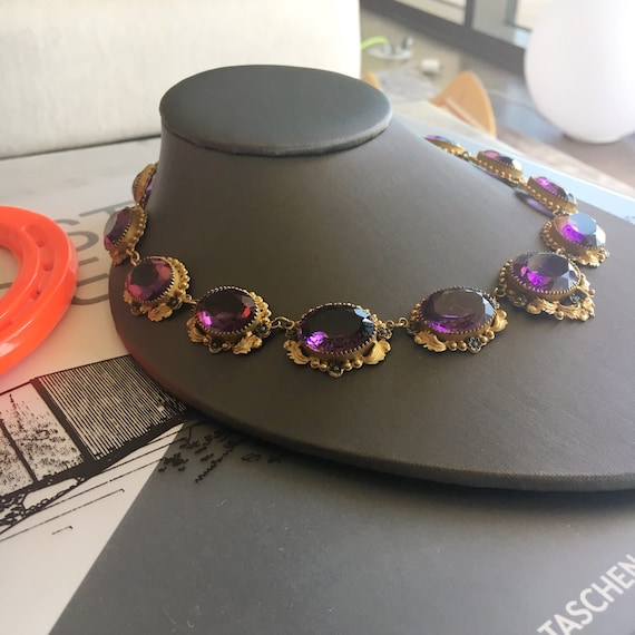 """Victorian """"Amethyst"""" Paste and Gilt Riviere Neckl… - image 3"""