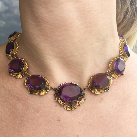 """Victorian """"Amethyst"""" Paste and Gilt Riviere Neckl… - image 6"""
