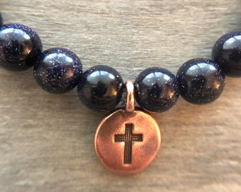 8mm Blue Goldstone Beads Essential Oil Diffuser Bracelet and 1ml Essential Oil Sample