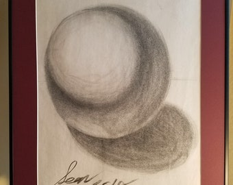 Charcoal drawing, shadow sphere; framed