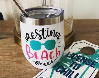 Resting Beach Face | Wine Tumbler | Beach Tumbler | Personalized Tumbler