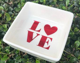 Love Ring Dish | Jewelry Dish | Heart Jewelry Dish | Valentine's Day Gift