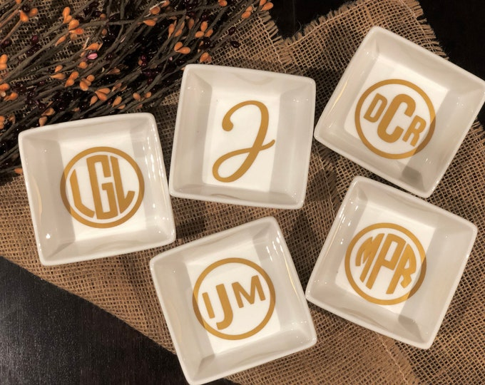 Featured listing image: Personalized Ring Dish Personalized Bridesmaid Gifts Personalized Jewelry Dish Monogram