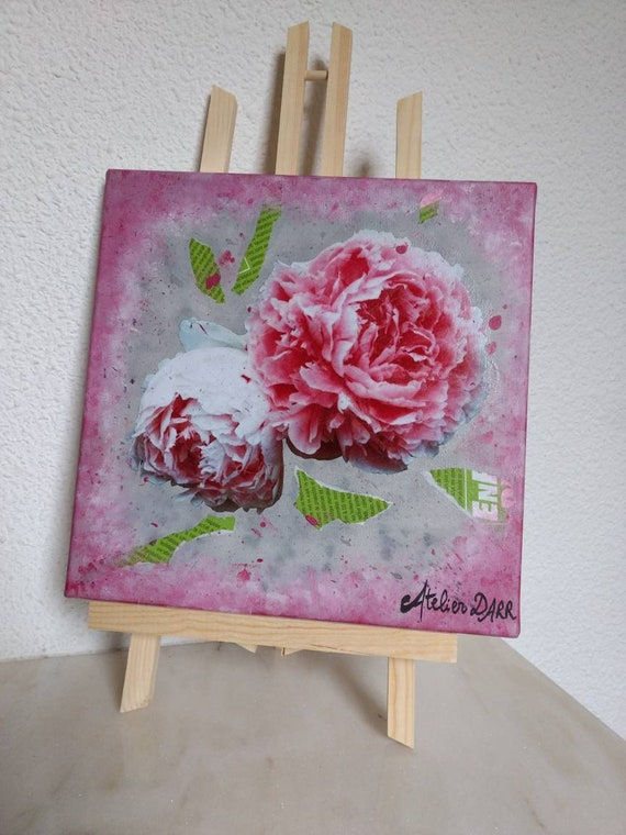 Painting of peonies mixed acrylic technical canvas and recovery of pink and green newspaper Peonies of Josephine,