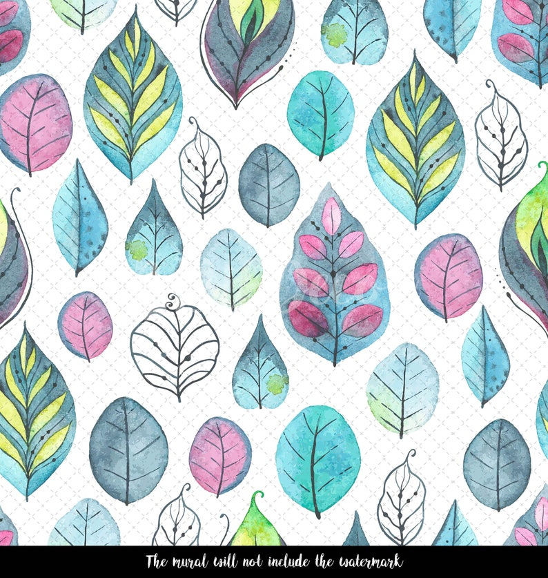 Abstract Mural Colorful Leaf Cartoon Leaves Wall Mural Peel And Stick Decor Wall Covering Wall Mural Watercolor Wall Decal #136