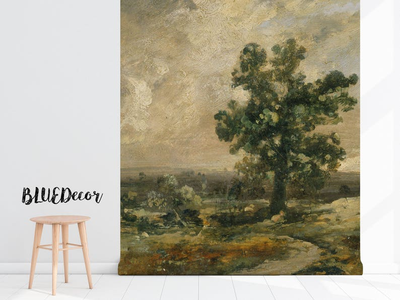 Oil Vintage Landscape Removable Wallpaper Mural #97 Repositionable Wall Mural Self Adhesive Self Adhesive Wall Decal Peel And Stick