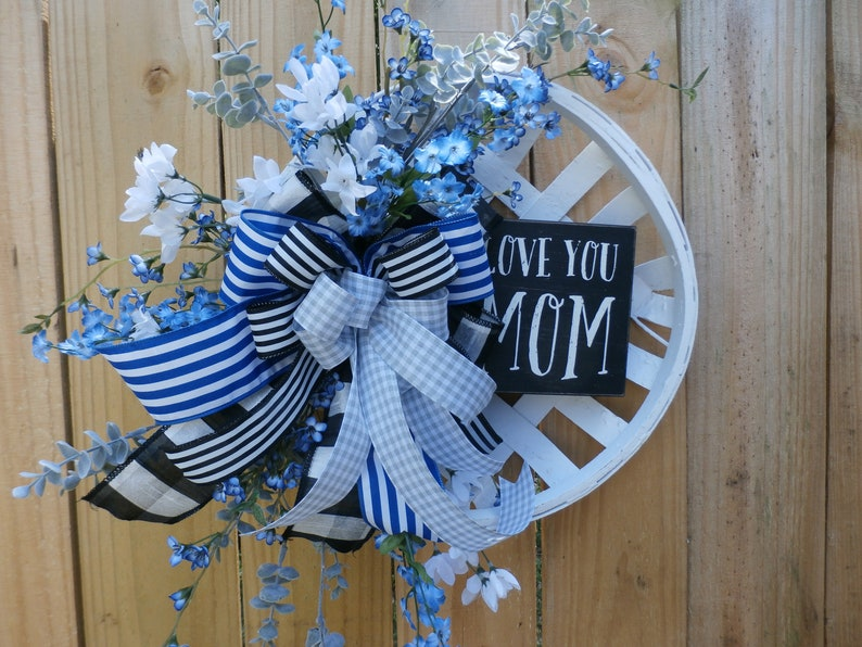 Decor Mothers Day Door Hanger Mothers day Gift Gift for Mom Mothers Day Wreath Mothers Day Tobacco Basket Gift For Her Love you MOM