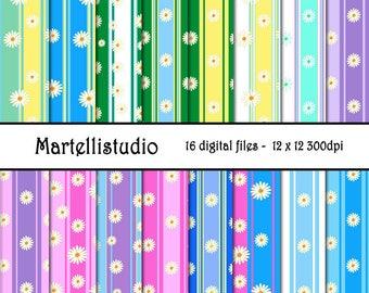 Stripe Daisy Digital Paper