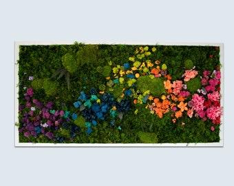 Rainbow - flower moss wall art - rectangle