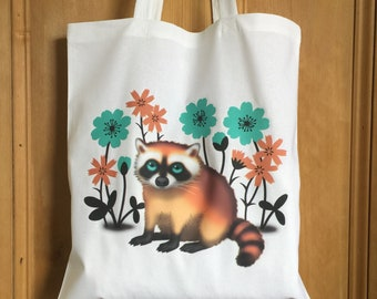 Raccoon tote bag, Raccoon tote, Canvas tote bag
