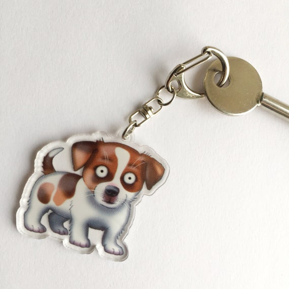 Acrylic Jack Russell Dog  Keychain Ring Charm Jewelry For Women Wallet Bag Gifts