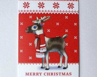 Rudolph card, Rudolf, Christmas card set, Cute animal, Funny animal, Furry animal, Scandinavian Christmas, knit pattern