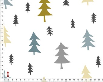 Organic fabric forest trees ochre grey-blue for sewing from organic cotton - all colors possible