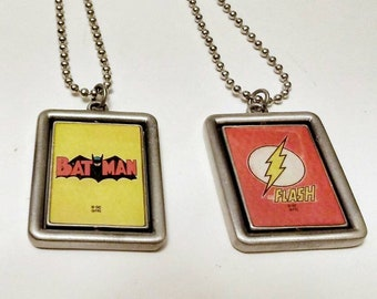 "Superman Batman 2 sided pendents on metal 18"" chain for super hero lovers everywhere"