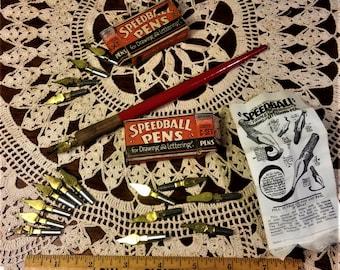 Vintage Speedball Pen and 3 Nib sets