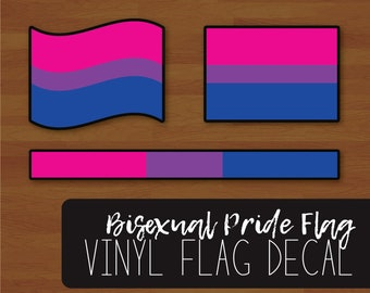 Waving Flag Bisexual Pride Flag Decal Bi Pride Flag Layered Vinyl Sticker Smooth Flag Colour Bar
