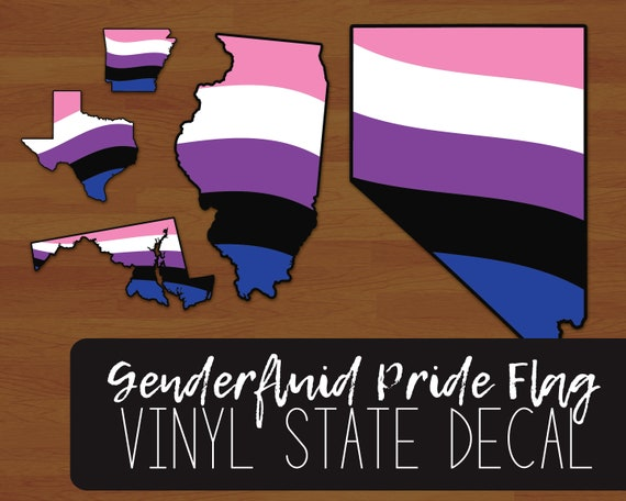 Fluid Pride Flag Layered Vinyl Sticker Genderqueer Pride US State Decal