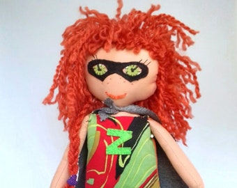 Doll collection superheroines, Super Z, Magic Braid. Handmade Rag Doll, Superwoman. 40cm