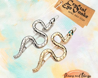 silver snake bobby pin clip barrette hairpin accessory slithering serpent asp