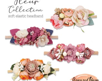 Girls Nylon Elastic Headband | BabyGirl Comfortable Nylon Hairband | Pink Flower Hairstyle | Toddler Hairdress | Floral Hair Accessories