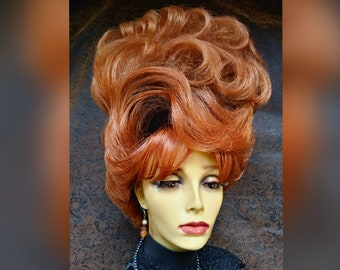 Styled Drag Wig (W21-271)  Standard Cap, Dramatic Up-do Bouffant, Black Roots with Copper Red, Banged with Soft Waves and Curls