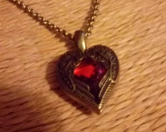 Delicate Red and Gold Heart Necklace