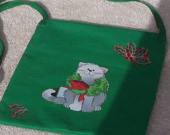 Christmas cat purse/tote