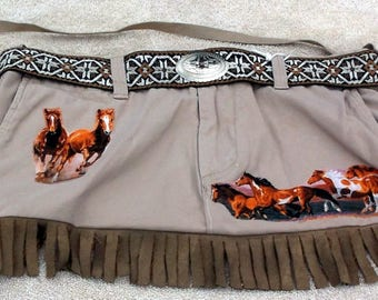 Purse/tote with horses and fringe