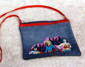 Denim purse/tote with SuperGirl, SuperWoman theme