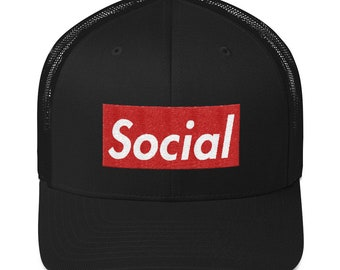 80d3937bd61ab Social Box Logo Hat (Trucker Style)