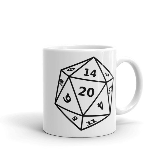 D20 Dice Coffee Mug D20 Dnd Dungeons Dragons Rpg D And D Dungeon Master Polyhedral Dice Dm