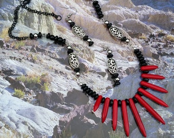 Red Magnesite spiked fan Necklace set