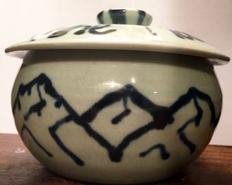 "Ceramic ""The Mountains Are Calling"" Lidded Pot"