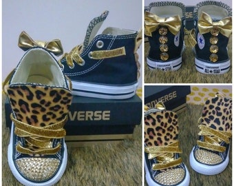 d3e679437f285c Custom Leopard Print Converse Chuck Taylor All Star Hi-Tops - Animal Print  Gold Rhinestones Bows Bling - Infant Toddler Girls Kids Chucks
