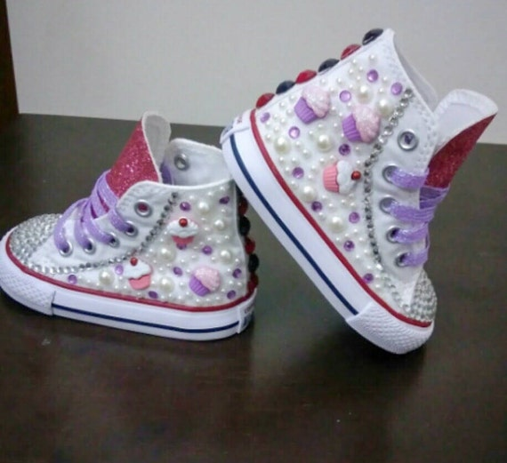 Custom bling converse,all star converse,custom converse,cupcake shoes,kids shoes,birthday shoes