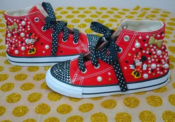 Minnie Mouse Converse Chuck Taylor All Star Kids Custom Disney Charakter Kicks Sneakers Bling Strass Mädchen