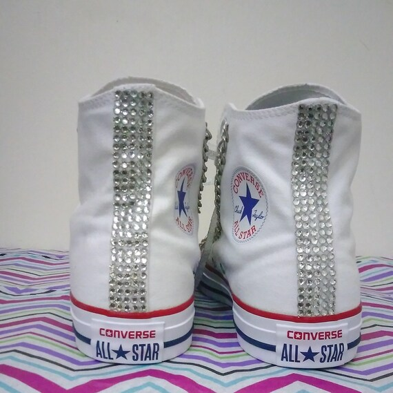 Benutzerdefinierte Converse Chuck Taylor alle Stern Top Sneakers Chucks weiß rot Silber Ketten Strass Bling Frauen