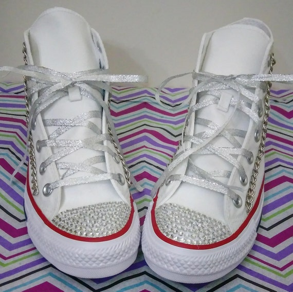 Custom Converse Chuck Taylor All Star Hi Top Sneakers Chucks White Red Silver Chains Rhinestones Bling Women's