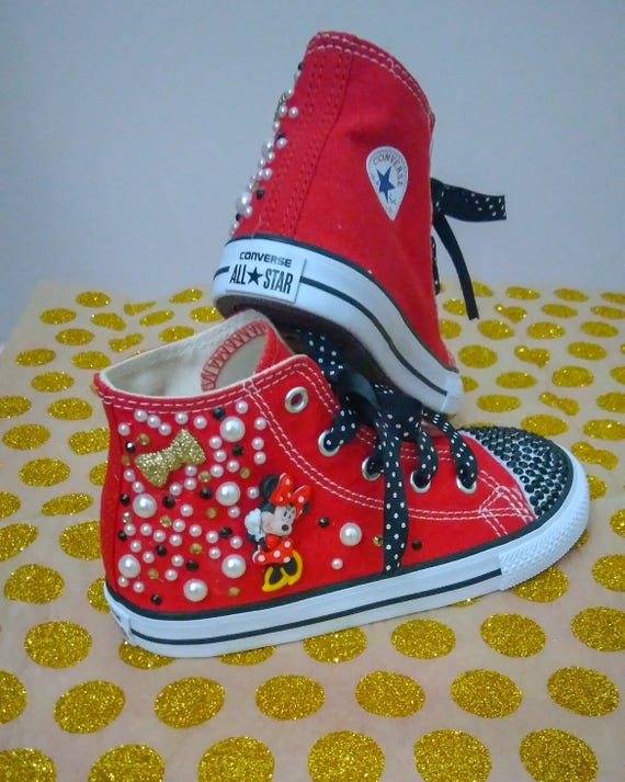 Minnie Mouse Converse Chuck Taylor All Star Kids Custom Disney Character Kicks Sneakers Bling Rhinestones girls