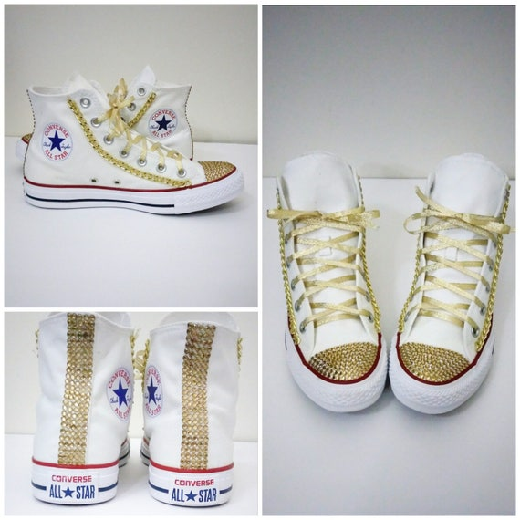 Custom Converse Chuck Taylor All Star Hi Top Sneakers Chucks White and Gold Chains Rhinestones Bling