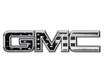 07-18 GMC Sierra Yukon B W American Flag Front   Rear Emblem Overlay Decal 53aa139b7aba
