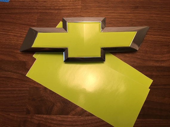 2 Sheets Long Lasting Vinyl for DIY Chevy Emblem Overlay Bright Yellow