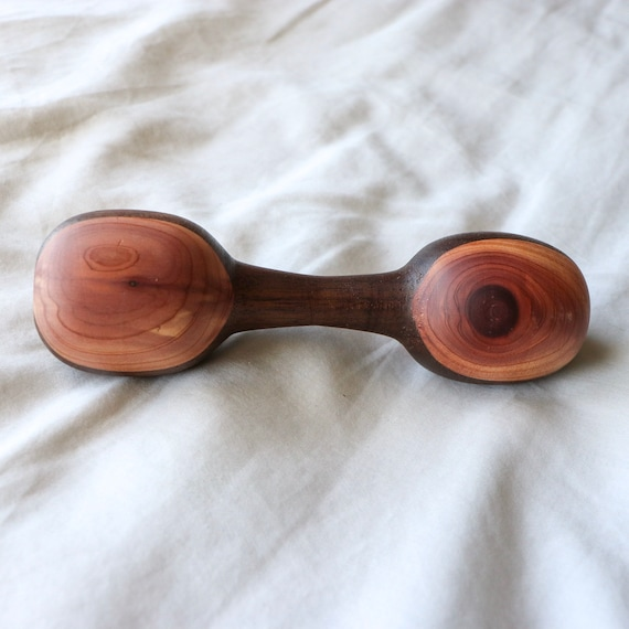 Hand Turned Baby Rattle Maple With Cedar Spotted Ends Natural Hardwood Montessori Toy