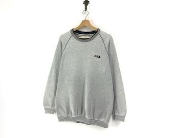 a2f4fb6a7474 Fila Biella Italia Crew Neck Sweatshirts Medium Logo Embroidere Jumper  Pullover Sportswear Streetwear Activewear Casual